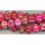 14mm Pink Sea Sediment Jasper Carved Blossom Rondelle Beads