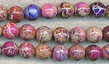 Sea Sediment Jasper Beads, Purple Round 12mm