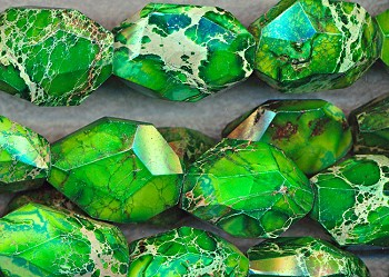 ZSOLDOUT - Faceted Green Sea Sediment Jasper Focal Nuggets