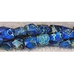 Sea Sediment Jasper Beads, Blue Nuggets Faceted