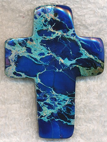 Blue Sea Sediment Jasper Cross Pendant Large 60x45mm
