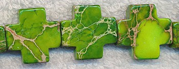 Sea Sediment Jasper  Beads, Green Cross Beads 22mm