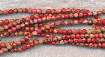 Sea Sediment Jasper Beads, Red-Pink Round 4mm