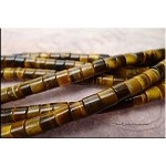 ZSOLDOUT - Tiger's Eye Beads, Golden Tube Heishe 6mm