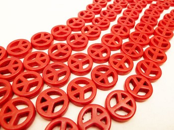 Peace Sign Beads, Red 15mm Magnesite