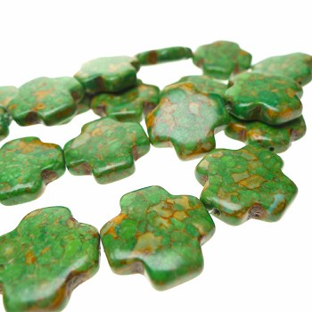 Turquoise Beads, Green Cross Mosaic 20mm