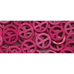 25mm Pink Peace Sign Beads