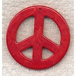 Large Peace Sign Pendants, Red 55mm