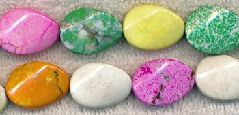 Magnesite Beads, Multicolored Oval 20x15mm