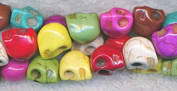 Stone Skull Beads, 12mm Multicolor Skull Beads