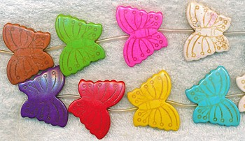 Large Stone Butterfly Beads, 30x40mm Multicolor Carved