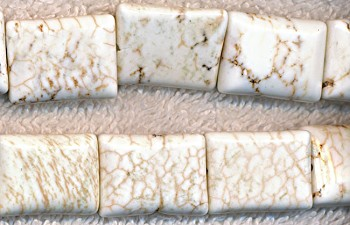 Magnesite Beads, White Rectangle 20x15mm