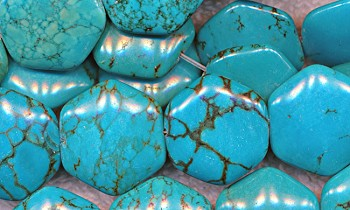 Turquoise Beads, 20mm 6-Sided Hexagon Gemstone Turquoise