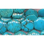 Turquoise Beads, 6-Sided Hexagon 20mm Stabilized