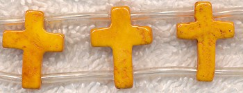 Cross Beads, Yellow-Orange 16x12mm Double-Drilled Magnesite