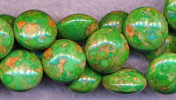 Turquoise Beads, Green Coin 16mm Turtle
