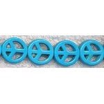 15mm Bright Turquoise Peace Sign Beads