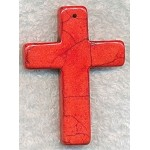 Stone Cross Pendants, Red 55x40mm
