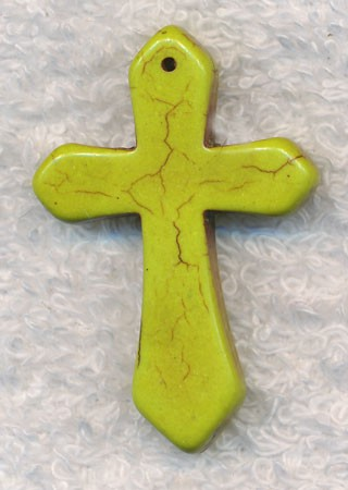 Green Turquoise Cross Pendants, 45x30mm