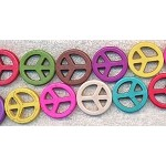25mm Multicolor Peace Sign Beads