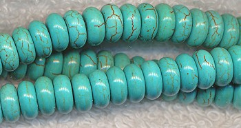 ZSOLDOUT - Turquoise Beads, Rondelle 8mm