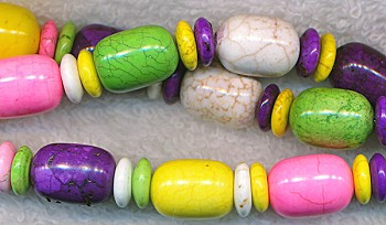 Multicolored Mixed Barrel & Rondelle Gemstone Beads