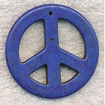 55mm Large Peace Sign Pendant Indigo Blue