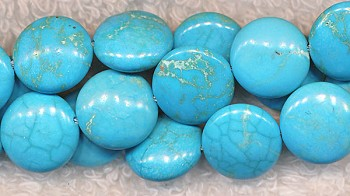 Turquoise Beads, Coin 12mm Light Blue
