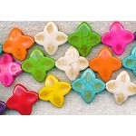 25mm Multicolor Magnesite Flower-Star Beads
