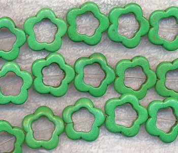 20mm Green Magnesite Turquoise Flower Beads