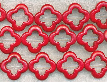 20mm Red Magnesite Turquoise Flower Beads