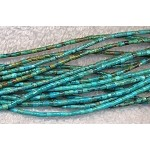 Turquoise Beads, Heishe Tube 2-3mm Natural