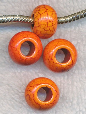 Magnesite Beads, Large Hole Orange
