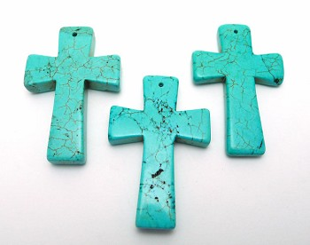 Turquoise Cross Pendant, 45x30mm Gemstone Cross (1)