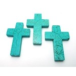 Turquoise Cross Pendants, 60x40mm