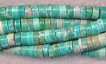 Turquoise Beads, Heishe Wafer 8mm