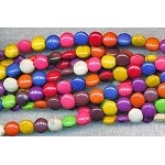 8mm Multicolor Magnesite Coin Beads