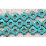15mm Flower Turquoise Magnesite Beads