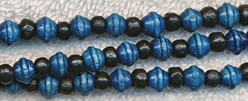 Wood Beads, Navy Blue Saturn & Black Rondelle Mix