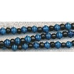 Wood Beads, Navy Blue Saturn and Black Rondelle Mix