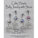 Celtic Heart Belly Ring, Celtic Pierced Navel Body Jewelry