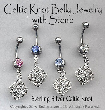 Sterling Silver Celtic Knot Belly Ring, Celtic Pierced Navel Jewelry