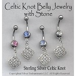 Sterling Silver Celtic Lace Belly Ring, Celtic Pierced Navel Jewelry