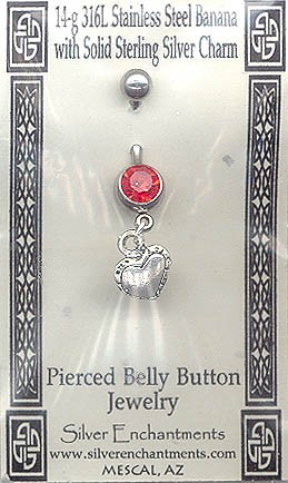 Sterling Silver Heart Belly Ring, Country Heart 3D Double-sided