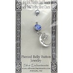 Sterling Silver Moon Belly Ring, Crescent Moon Pierced Body Jewelry