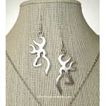 Silver Large Deer Earrings, Large Stag Earrings