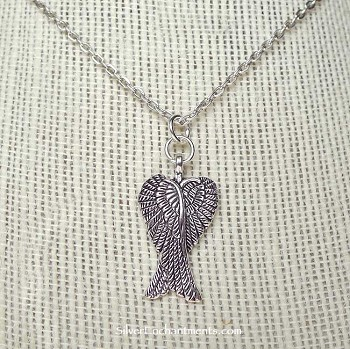 Folded Angel Wings Necklace, Silver Guardian Angel Jewelry