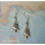 Christmas Tree Earrings, Yule Earrings with Stars