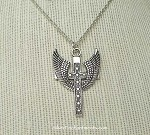 Large Winged Cross Necklace - Everyday Silver Guardian Angel Jewelry