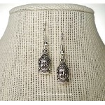 Small Buddha Earrings - Everyday Silver Buddhist Jewelry